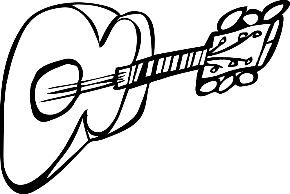 Black and white panda. Guitar clipart simple