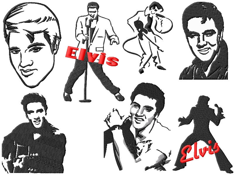 Designs set . Elvis clipart embroidery