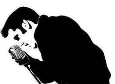 Silhouette and vintage microphone. Elvis clipart mic