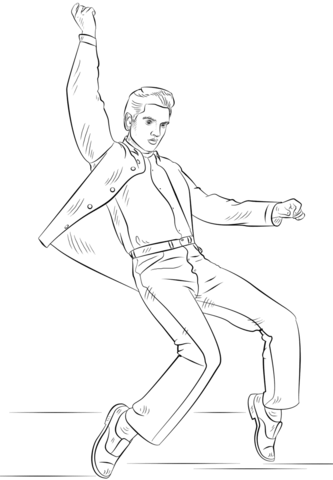 Presley coloring page free. Elvis clipart sheet