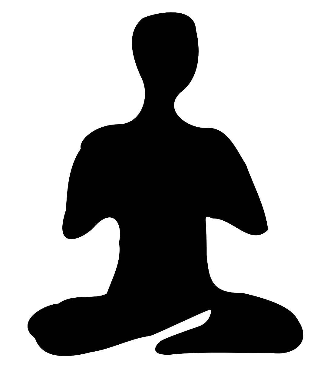 Meditation silhouette at getdrawings. Mind clipart black and white