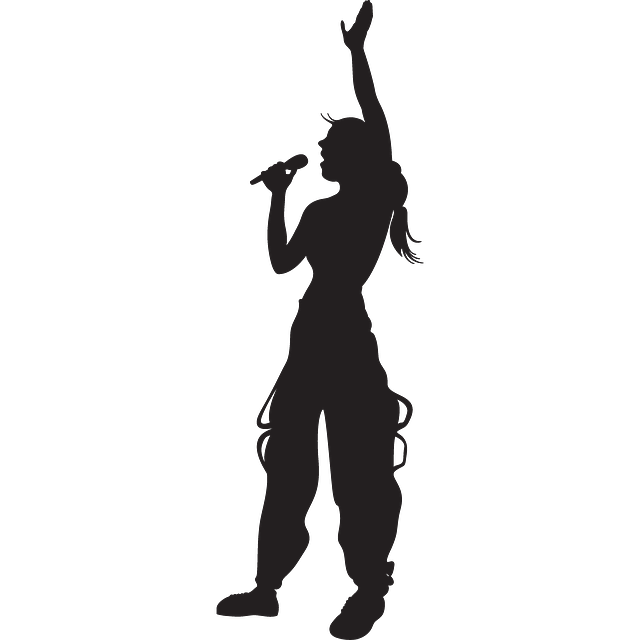 Hand singing silhouette girl. Elvis clipart sillouette