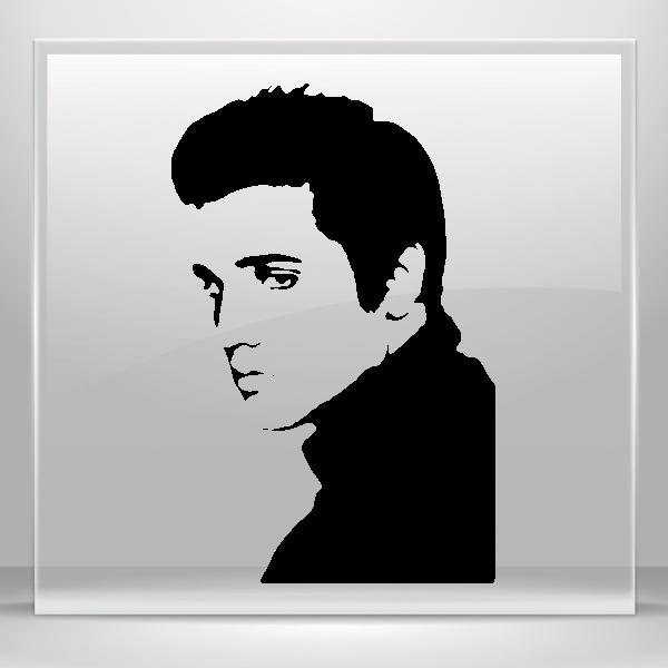 Elvis clipart simple. Color vinyl preasley stickers