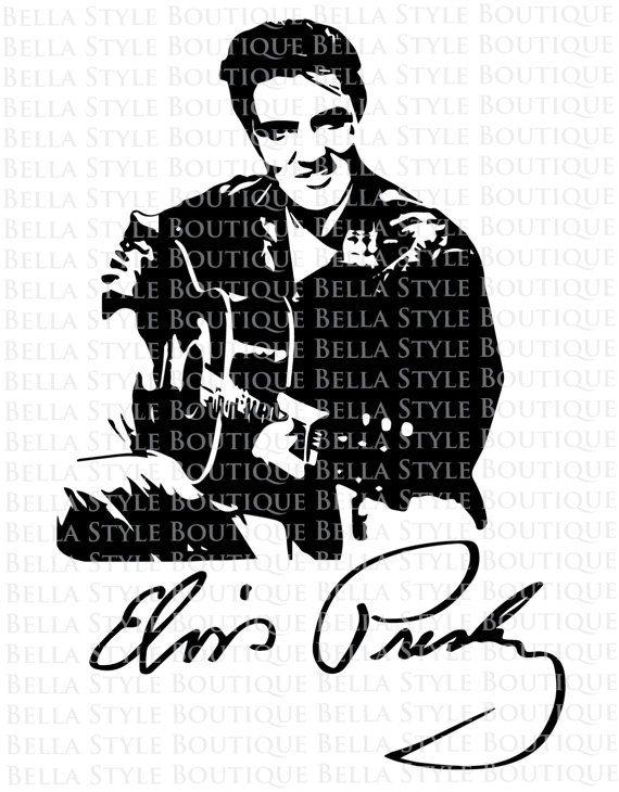 Elvis clipart svg. Presley guitar and signature