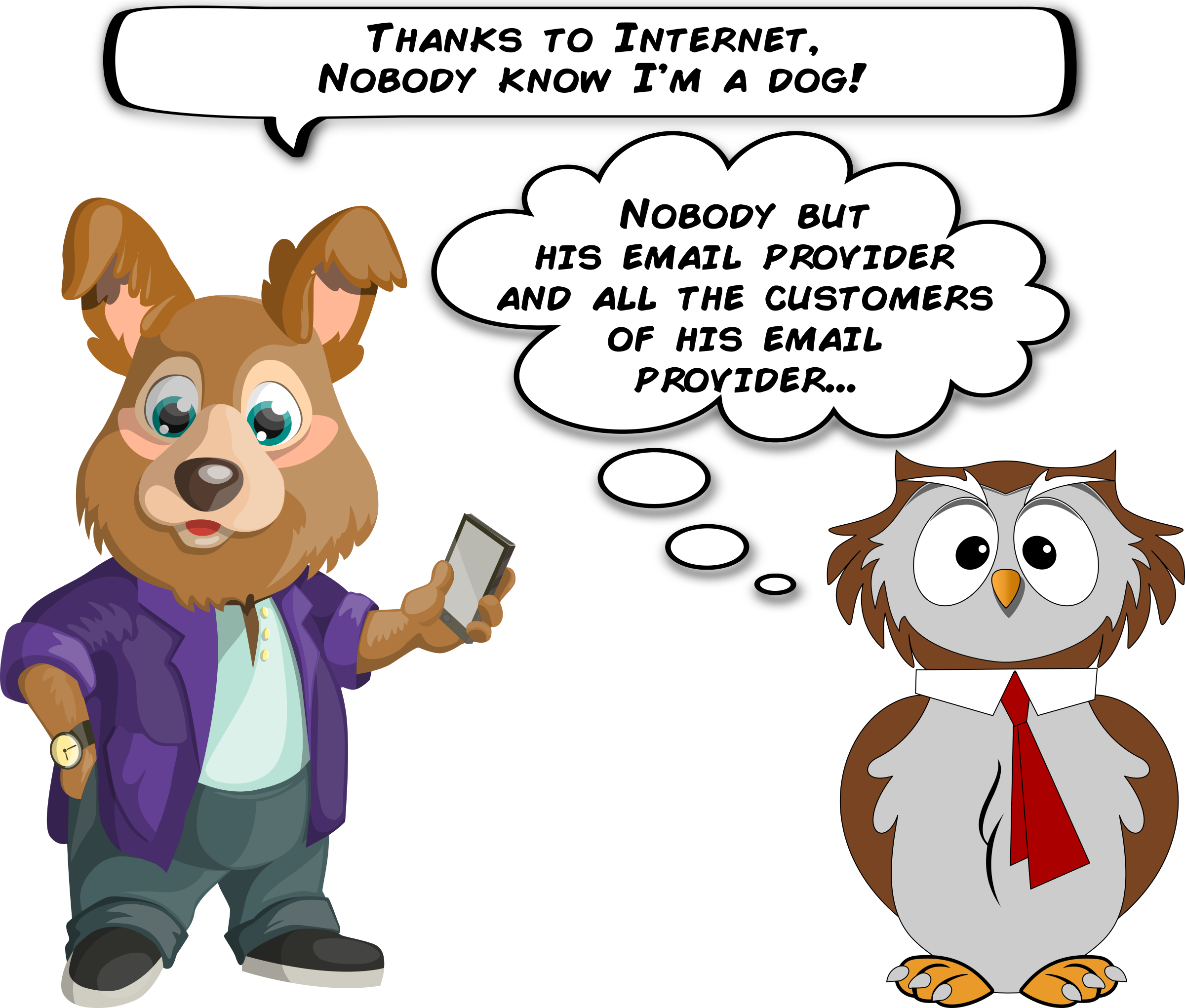 A and an owl. Marbles clipart dog ball