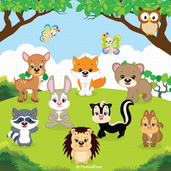 Email clipart cute animal. Woodland animals