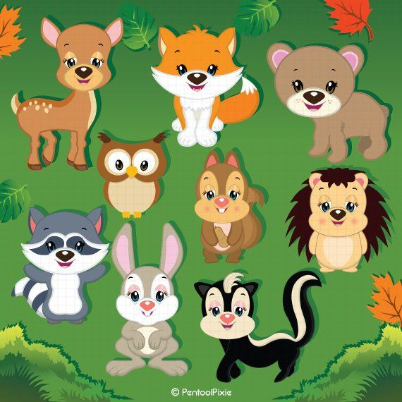 Woodland animals . Email clipart cute animal