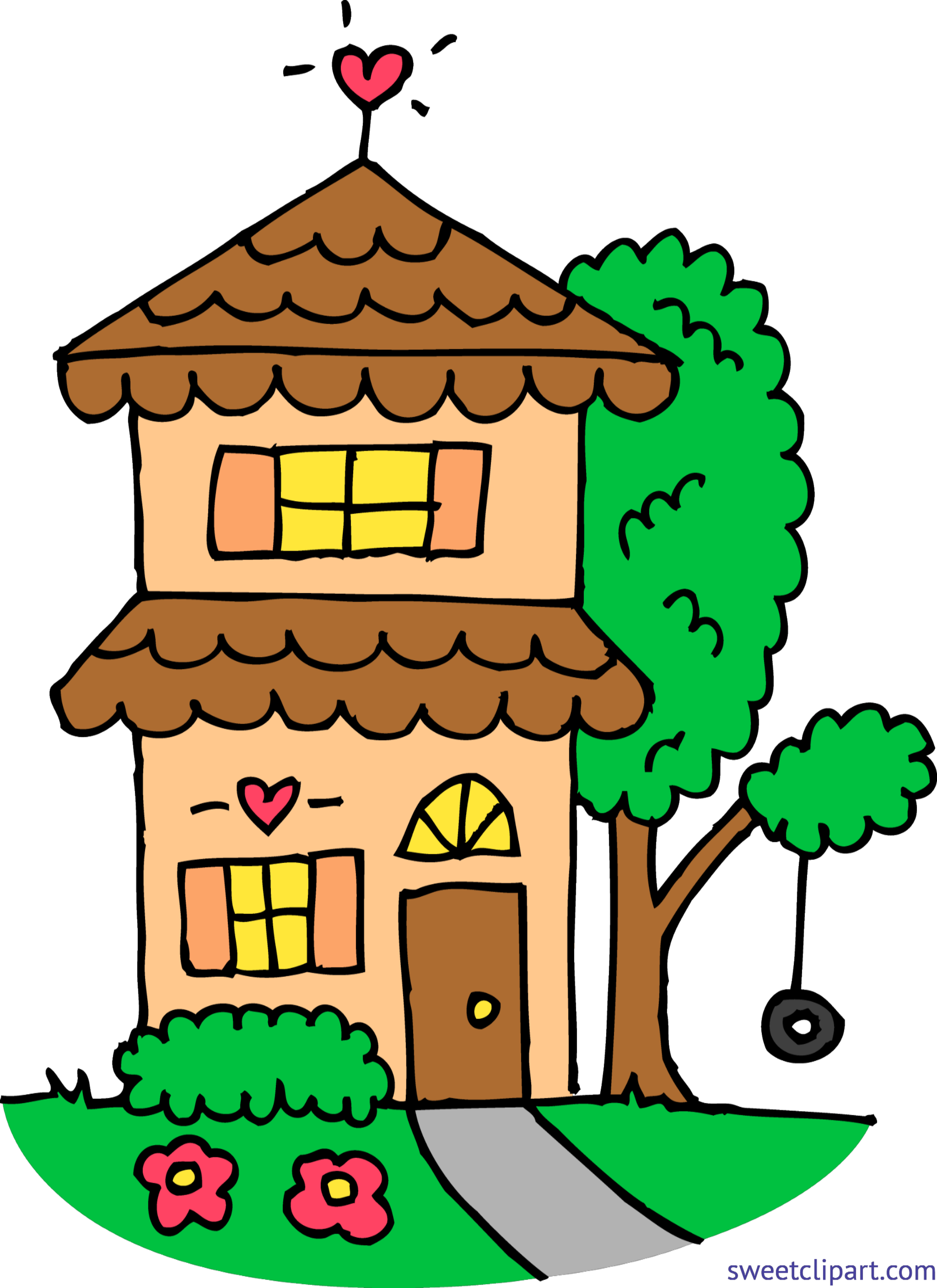 Orange two story house. Email clipart design cute