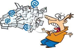 A man being inidated. Mail clipart pile