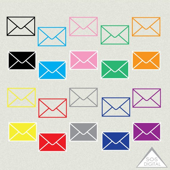 Envelope clipart small envelope. Mail email colored
