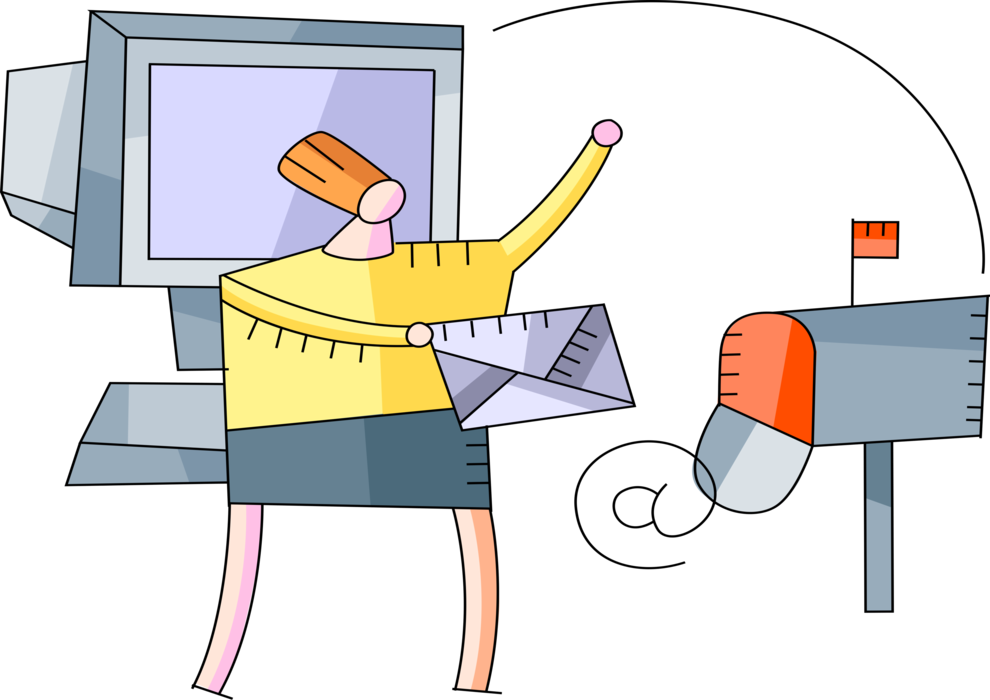 Entrepreneur sends electronic email. Mailbox clipart snail mail