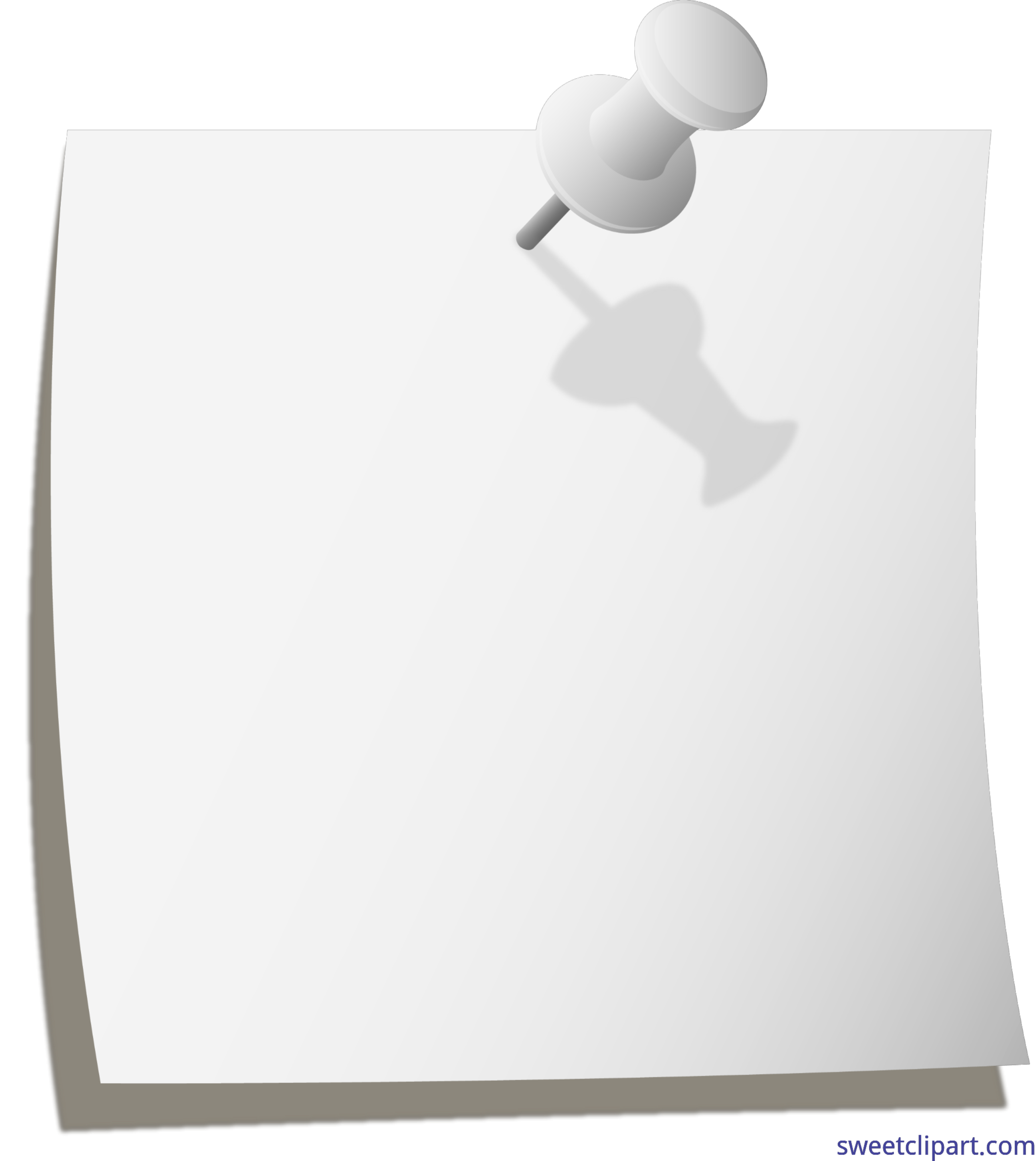 Thumbtack note grey clip. Email clipart white object