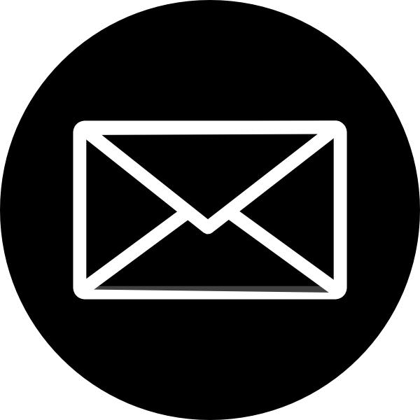 Icon black circle envelope. Mailbox clipart email