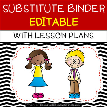 Emergency clipart binder. Substitute with lesson plans
