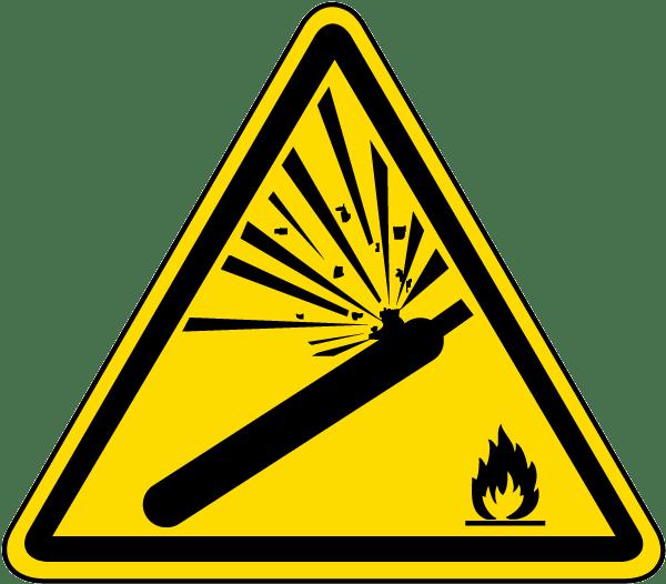 Pressurized cylinder warning label. Caution clipart emergency sign