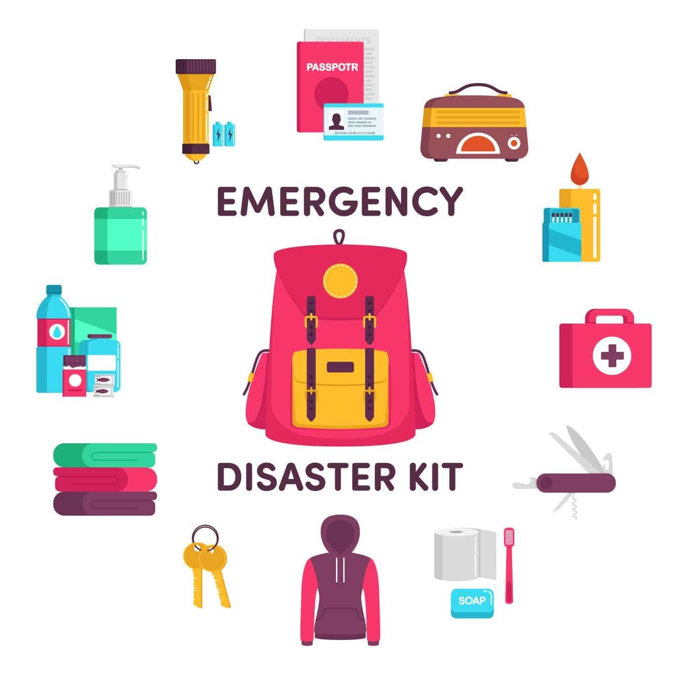 Emergency clipart emergency backpack. Essential hurricane supplies to
