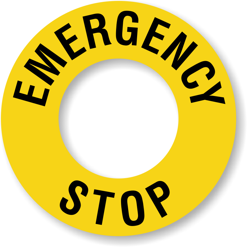 Stop ring label sku. Emergency clipart emergency button