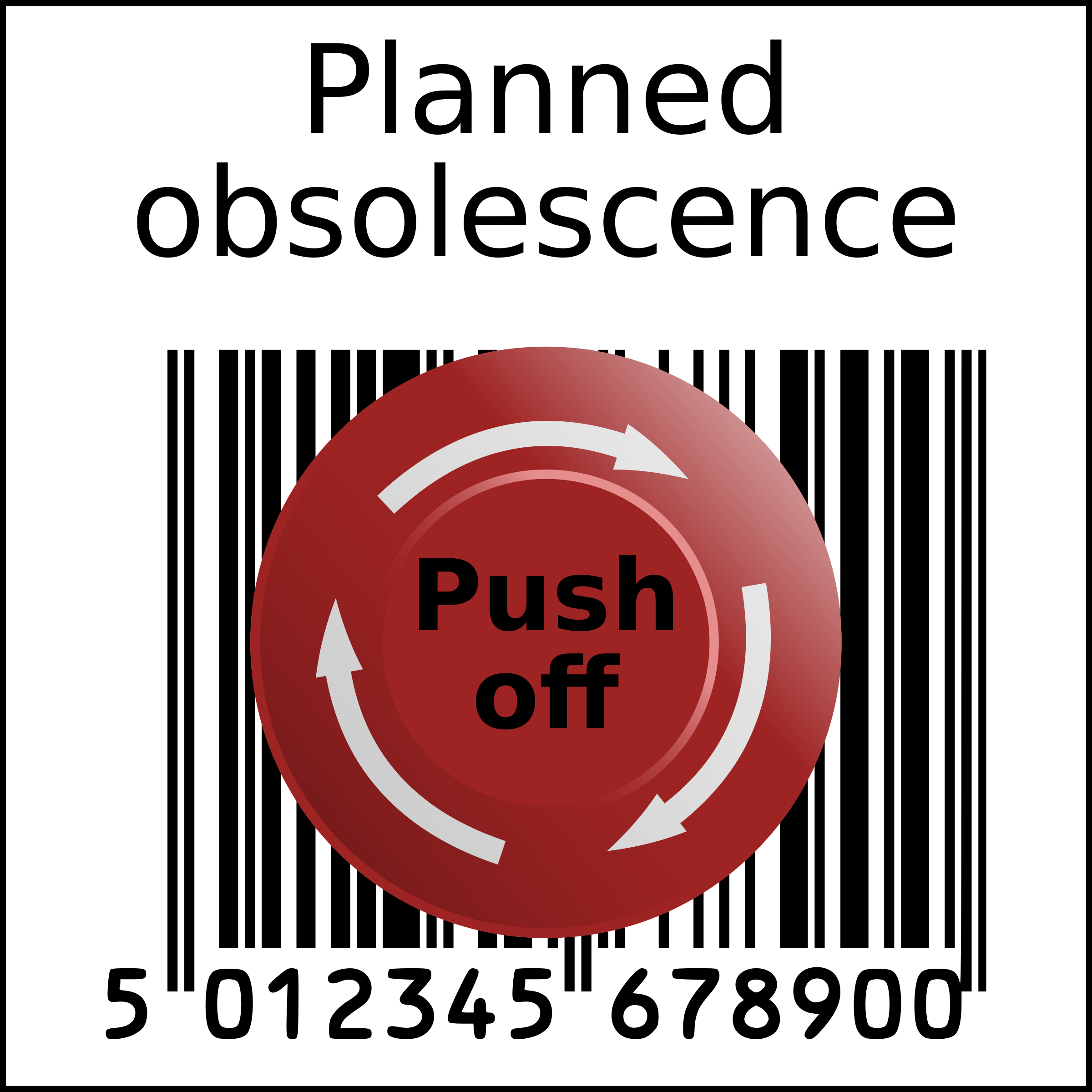 Emergency clipart emergency button. Planned obsolescence barcode in