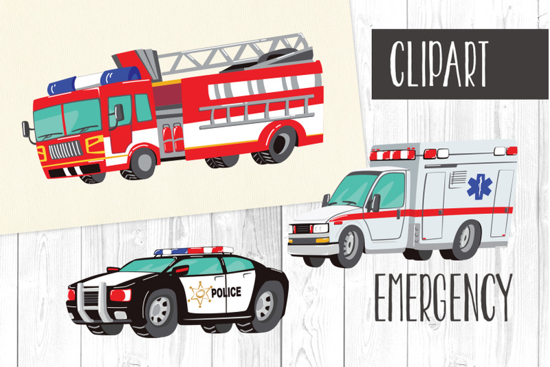 Emergency clipart emergency situation. Fire truck taxi police