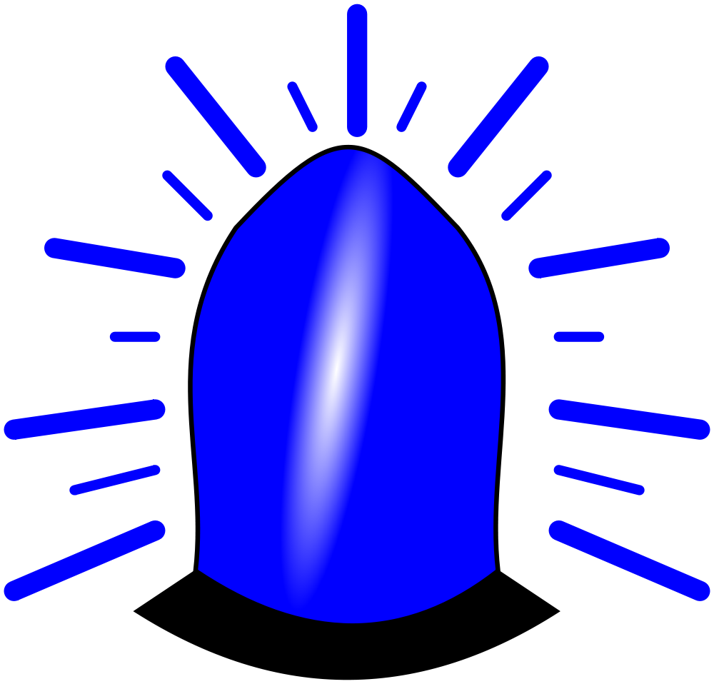 File blue light icon. Emergency clipart emergency situation