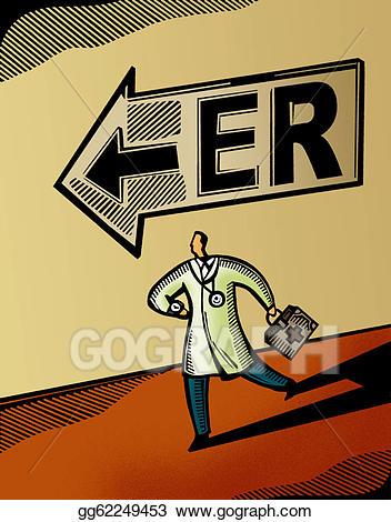 Emergency clipart er room. Stock illustrations doctor running