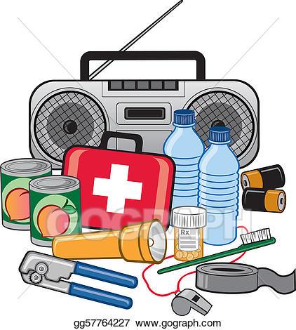 Vector stock preparedness kit. Emergency clipart survival