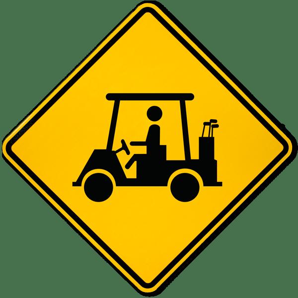 Golf clipart crossed golf club. Cart crossing sign f