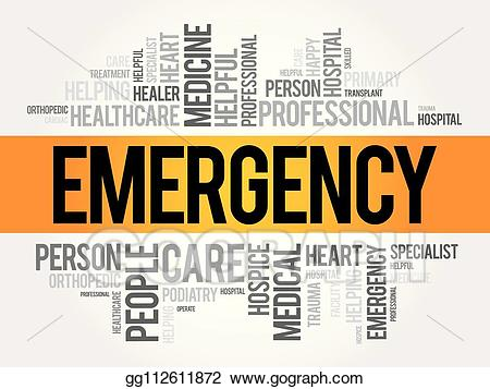 Emergency clipart word. Vector cloud collage