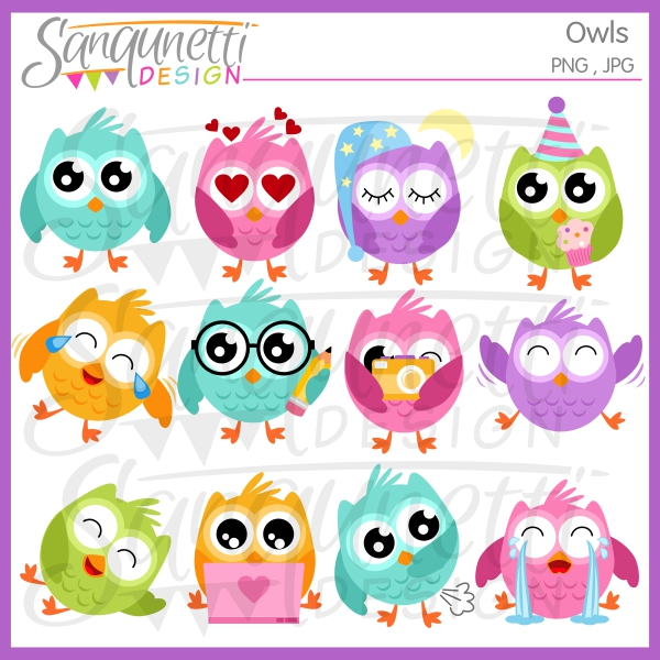 Sanqunetti design owl owls. Emoji clipart