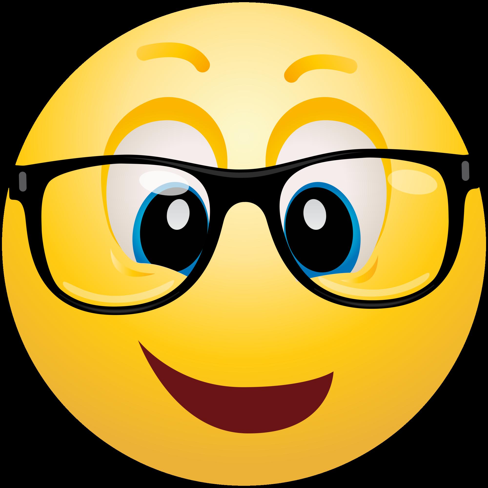 Geek emoji info . Sunglasses clipart emoticon
