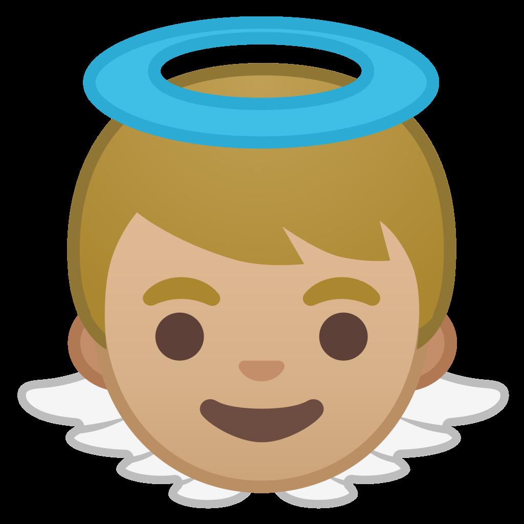 Emoji clipart angel. Baby medium light skin