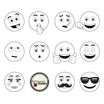 Smiley face clip art. Emoji clipart black and white