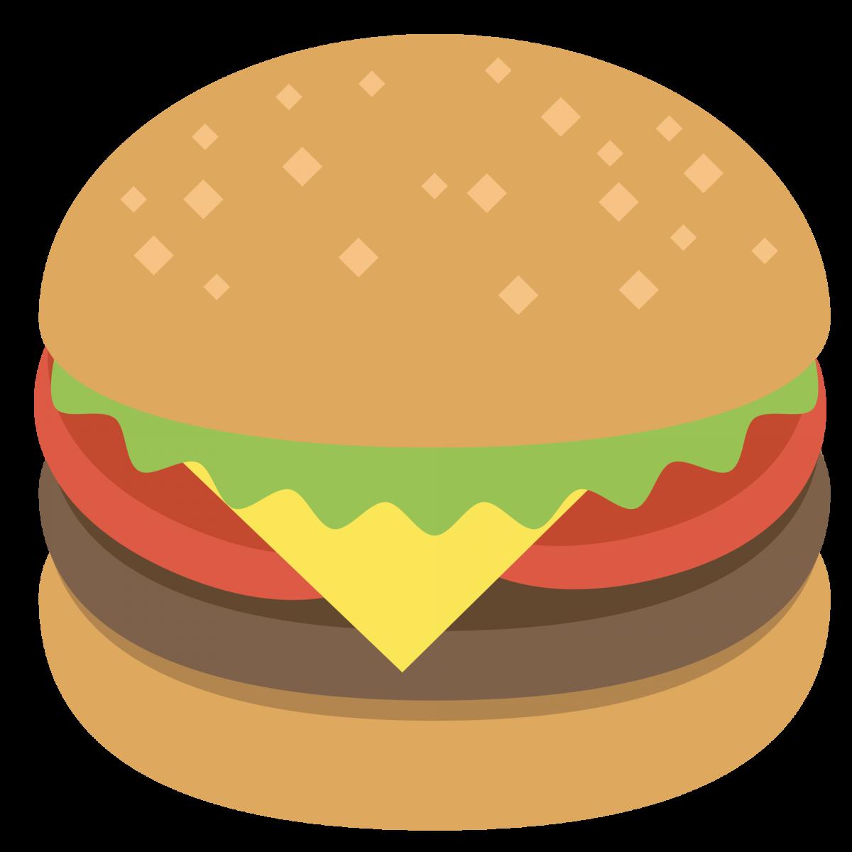 Iron on t shirt. Emoji clipart burger