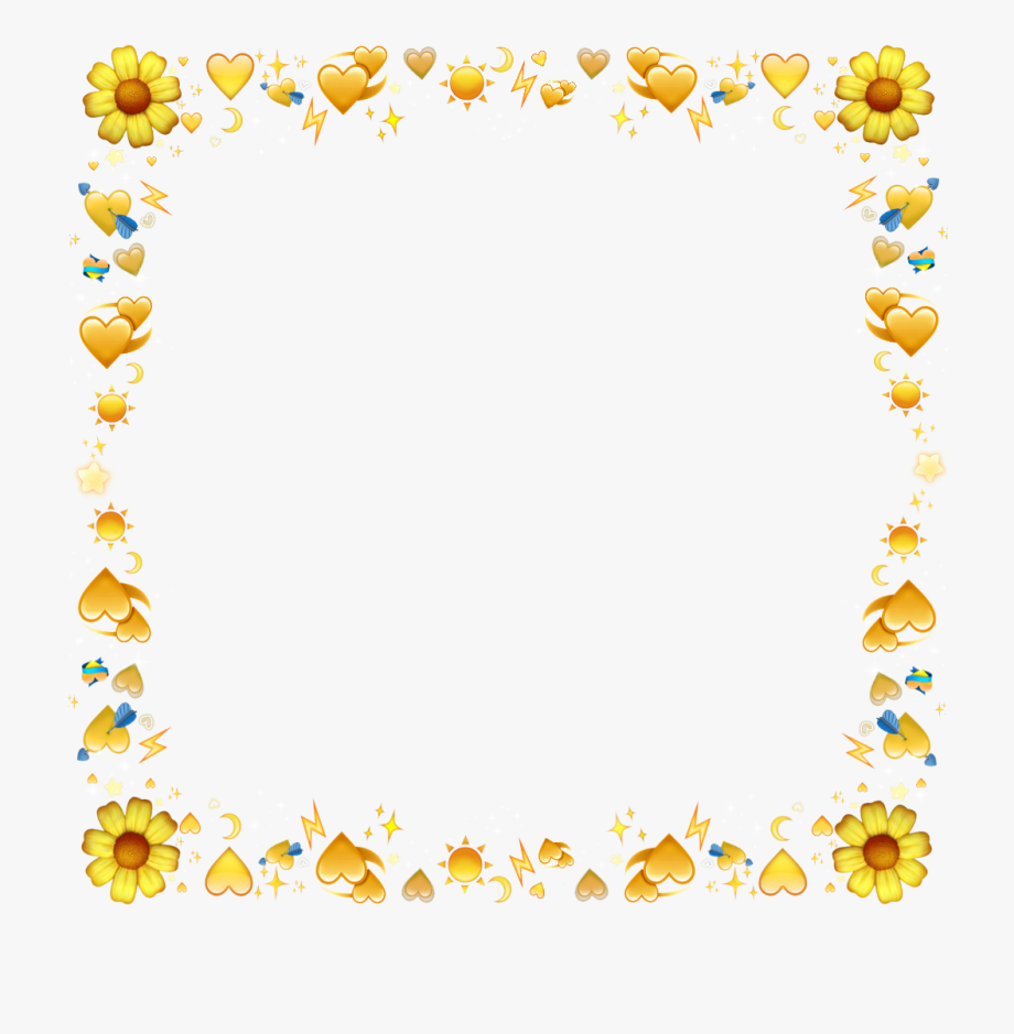 Emojis yellow jaune flower. Emoji clipart frame