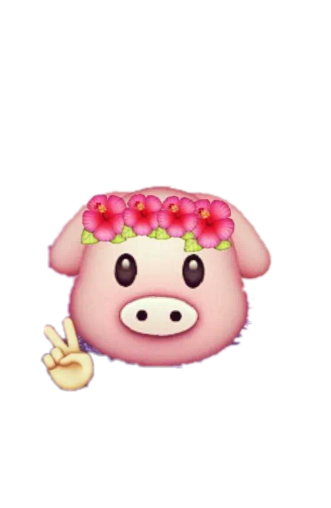 Emoji clipart pig. Stickers emojis remixit flowers