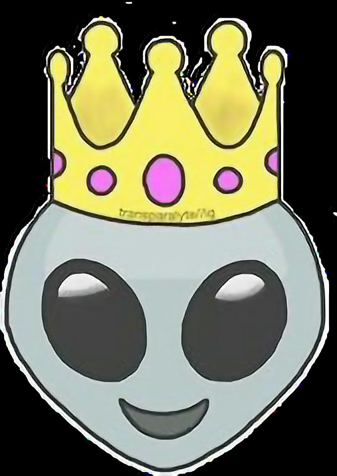 Emoji clipart queen. Alien crown king bynisha