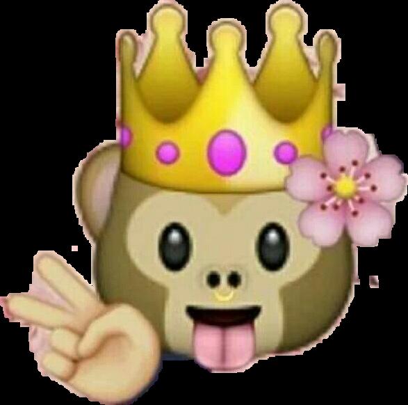 Queenmonkey queen emojistickers. Monkey emoji with flower crown png