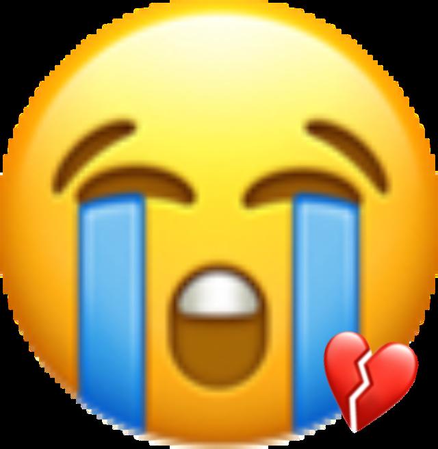 Heart sad crying sticker. Emoji clipart sadness