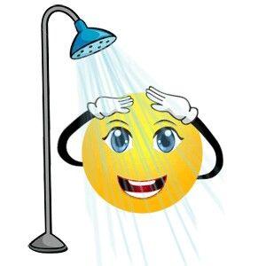 Showering smiley faces emoticon. Emoji clipart shower