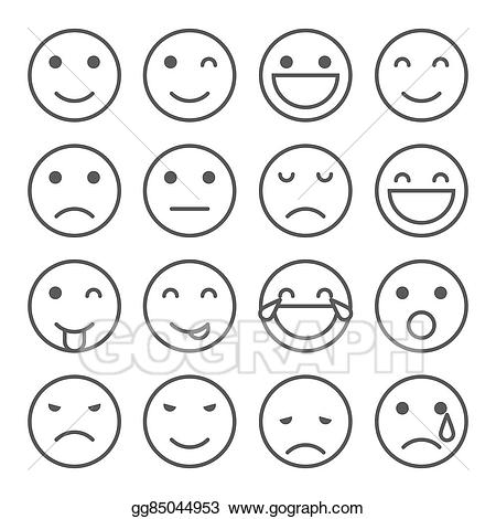 Emoji clipart simple. Vector stock faces icons
