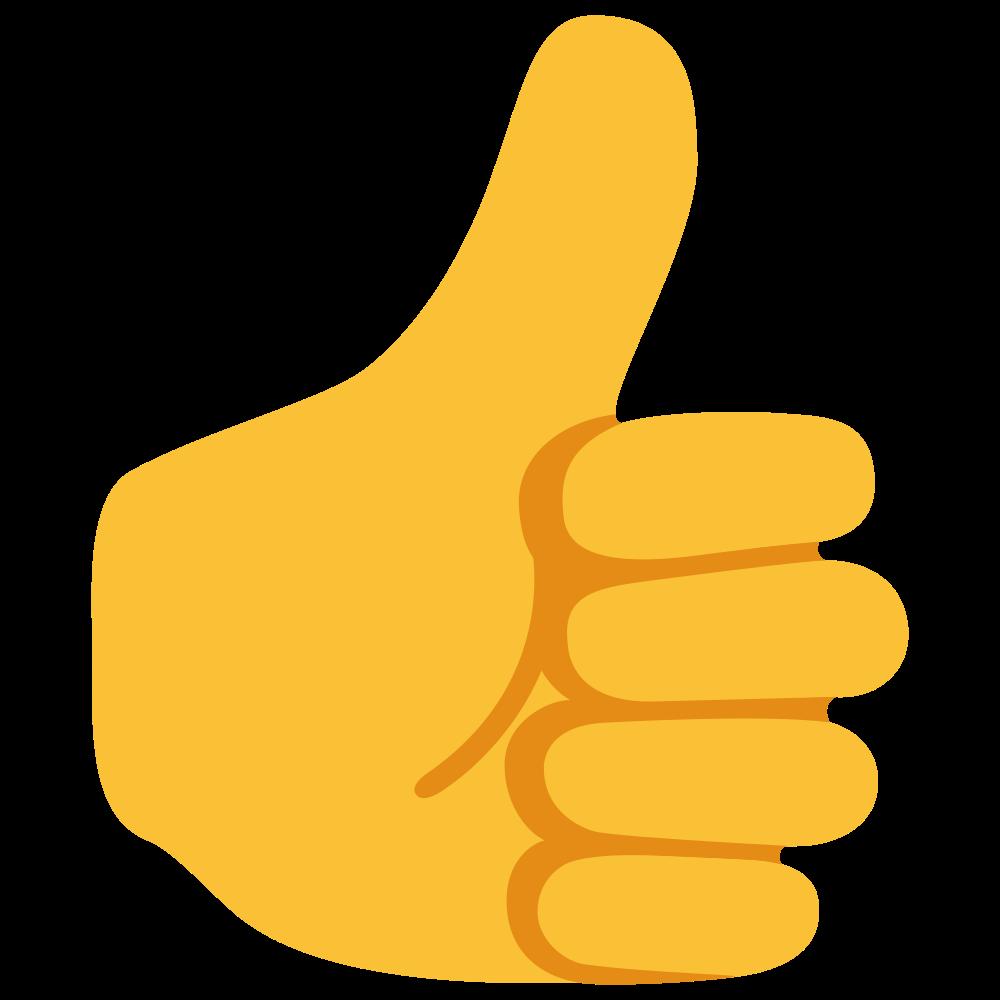 Yellow skin . Emoji clipart thumbs up