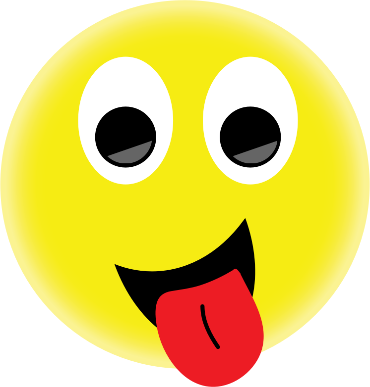Smiley face with out. Emoji clipart tongue