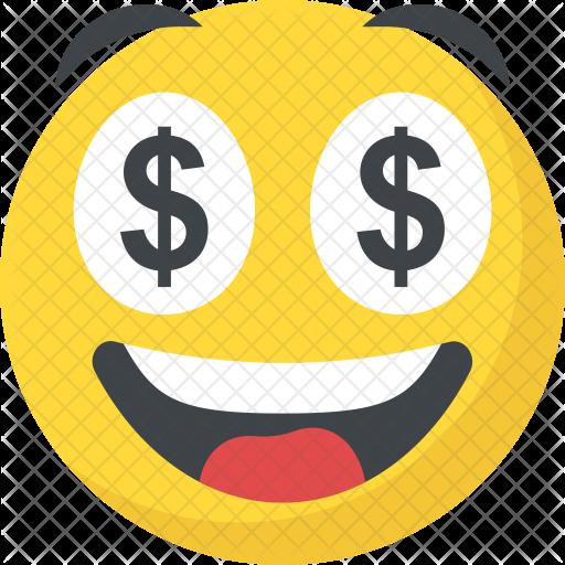 Emoji money png. Dollar eyes icon avatar