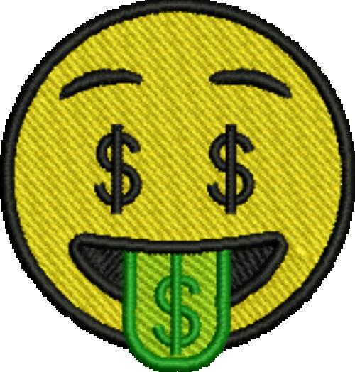 Tongue iron on patch. Emoji money png