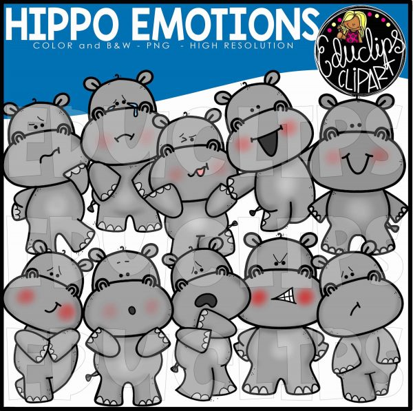 Emotions clipart animal emotion. Hippos african clip art