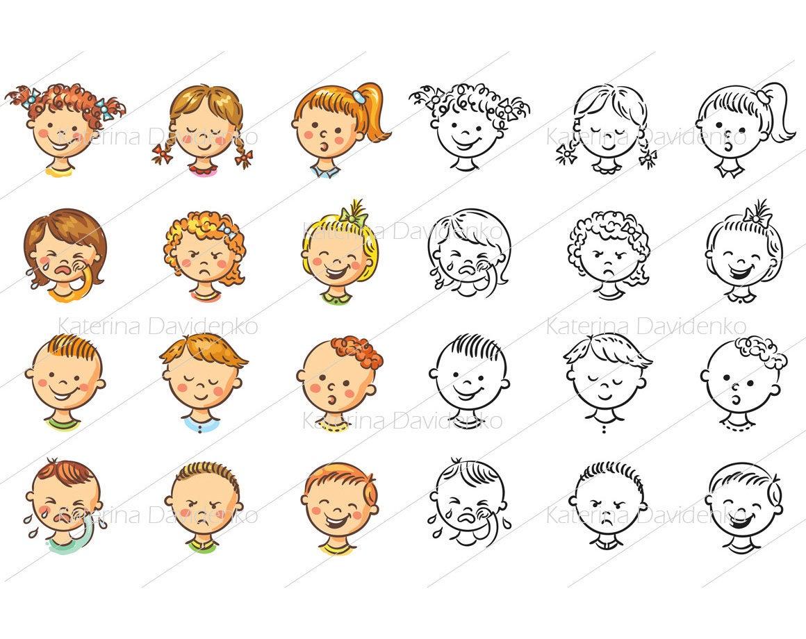 Kids set vector illustrations. Emotions clipart baby