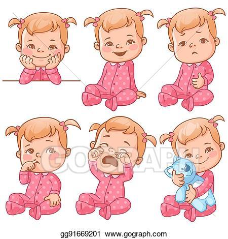 Emotions clipart baby. Vector girl set illustration