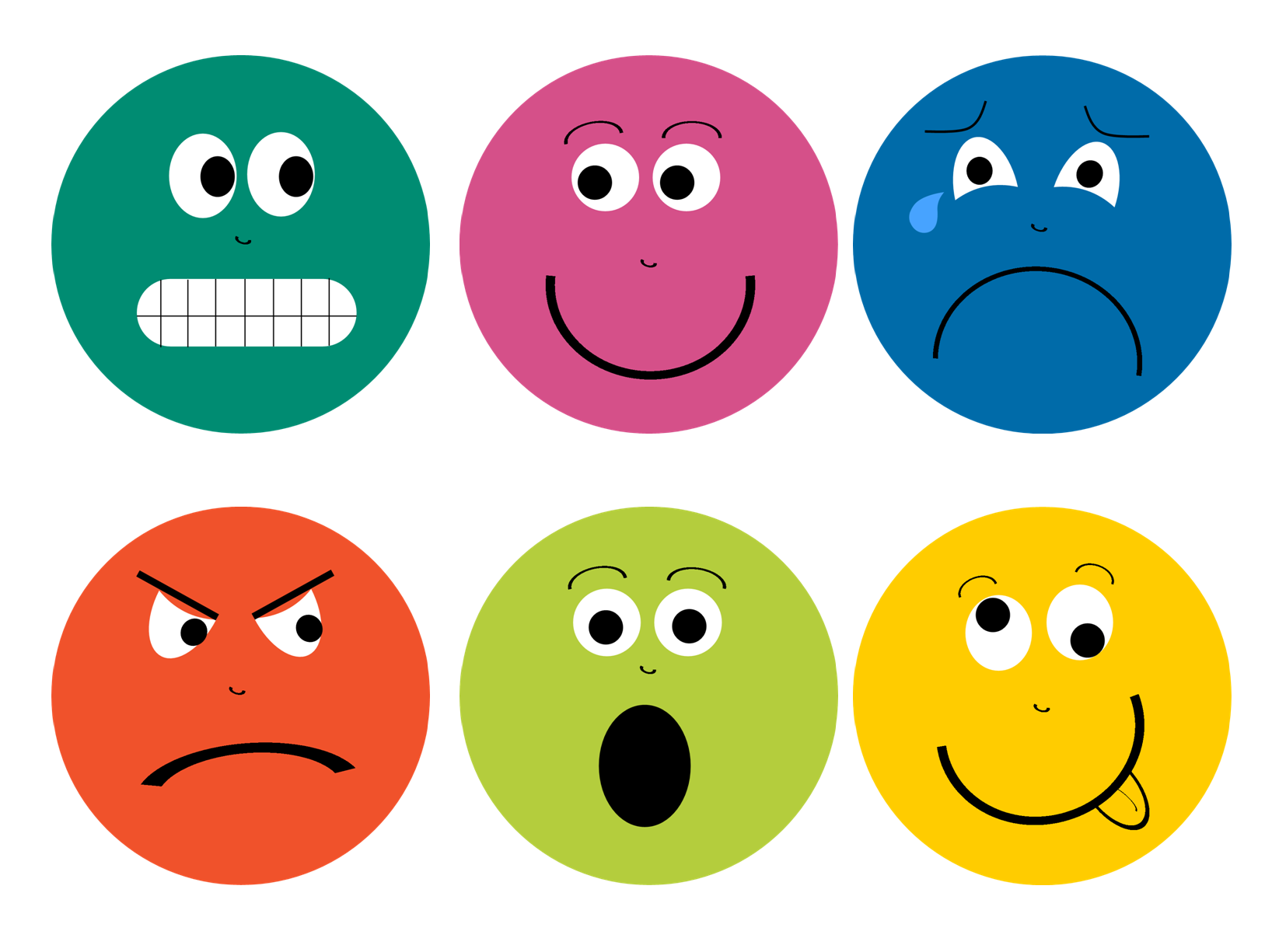 Emotions clipart basic emotion. Feelings faces printable library