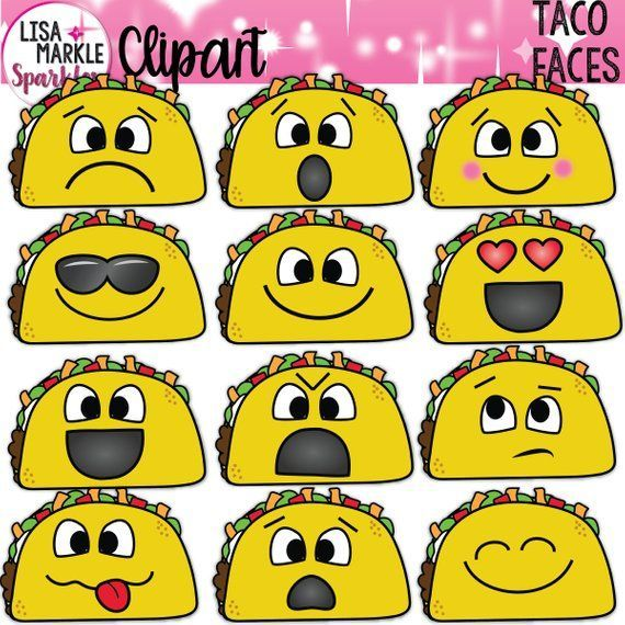 Feelings clipart behaviours. Taco emoji with faces
