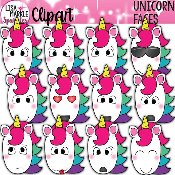 Unicorn emoji with . Emotions clipart cartoon face